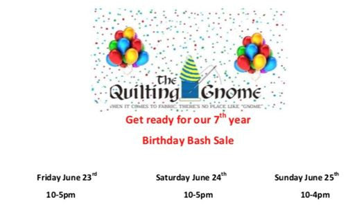 The Quilting Gnome's Annual Birthday Sale!