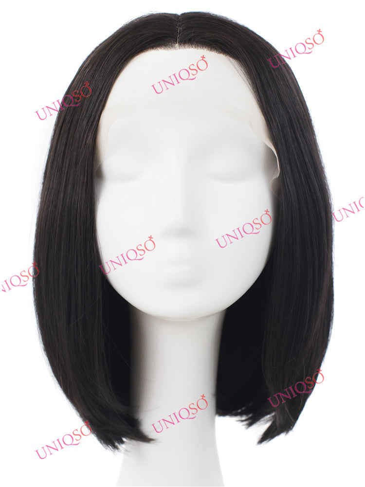 Premium Wig - Short Center Parting Sleek Black Wig-UNIQSO