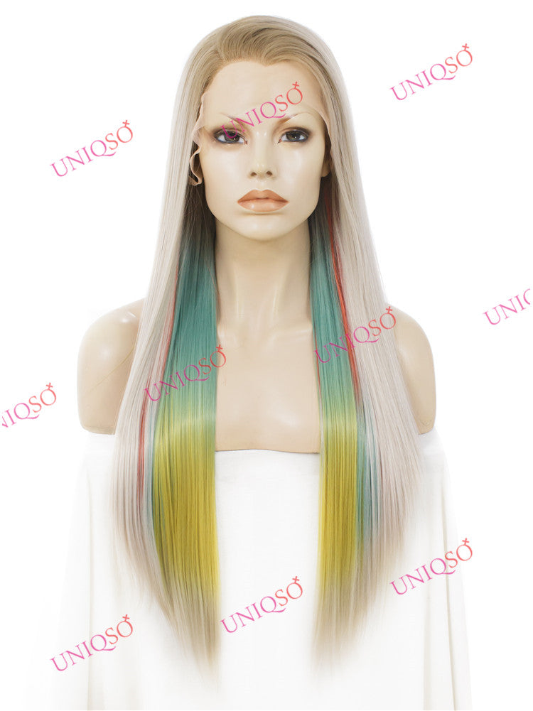 Premium Wig - Strawberry Blonde with Aqua Mint Under Lights Lace Front Wig-UNIQSO
