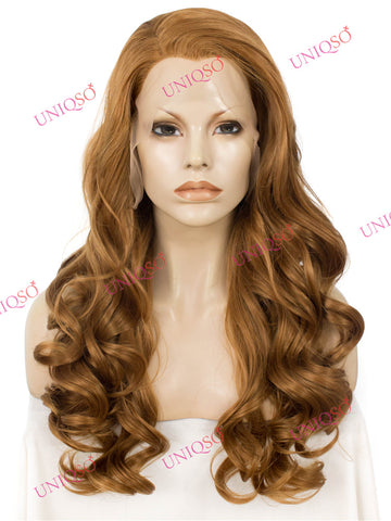 Premium Wig - Toffee-Blonde Romantic Curls Lace Front Wig-UNIQSO