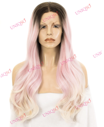 Premium Wig - Pastel-Pink with Blonde Ombre and Shadow Roots Lace front wig-UNIQSO