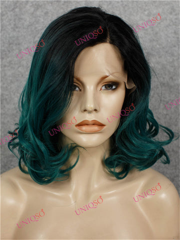 Premium Wig - Black Roots to Teal Green Curly Lace Bob Wig-UNIQSO