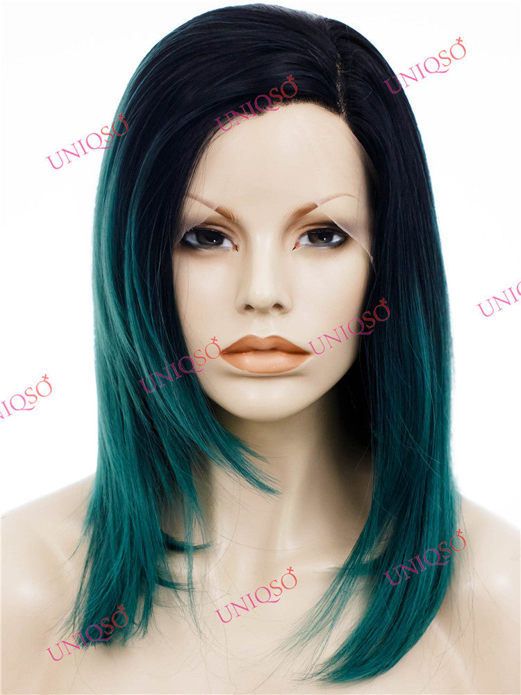 Premium Wig - Ombre Black & Teal Green Lace Front Wig-UNIQSO