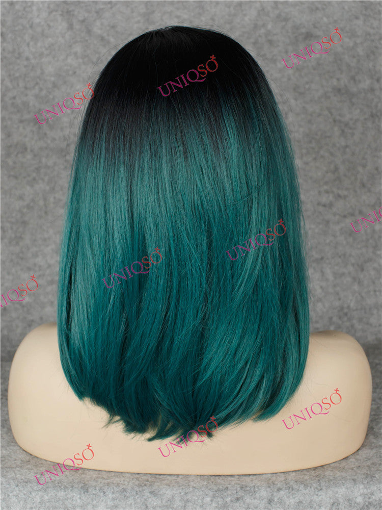 Premium Wig Ombre Black Teal Green Lace Front Wig Uniqso