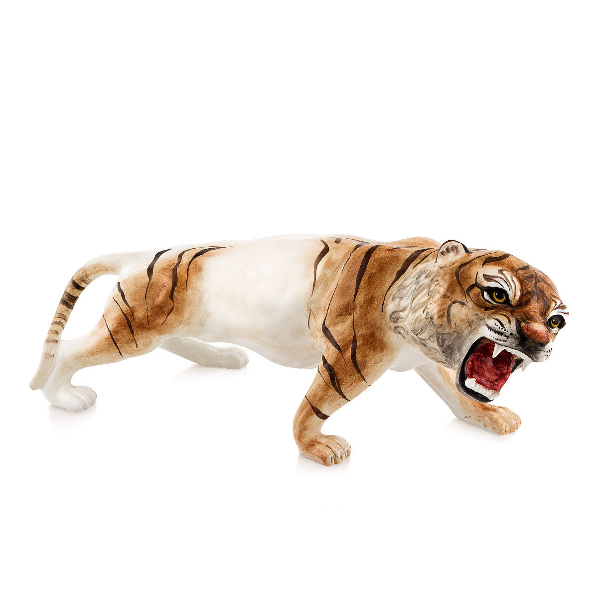 roaring tiger hand-painted ceramic porcelain finished in traditional color