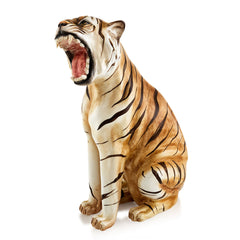 Ceramic roaring tiger sculpture with lifelike details