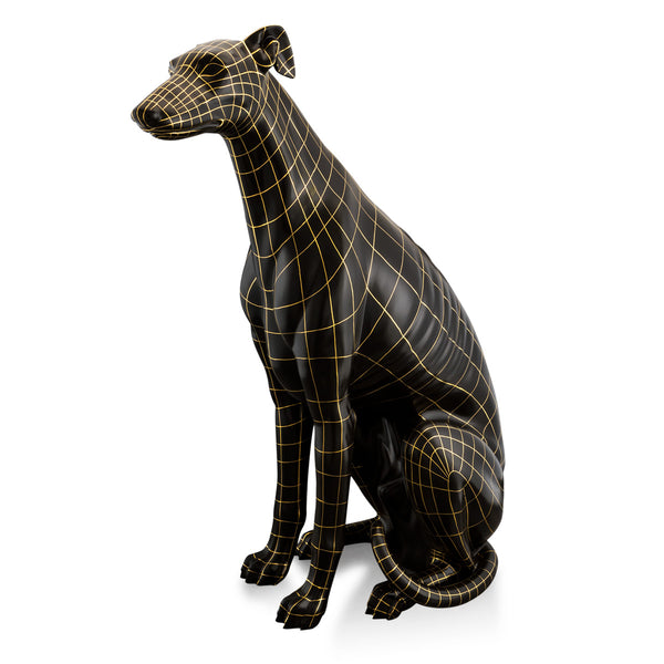 Ceramic big italian greyhound figurine - wireframe