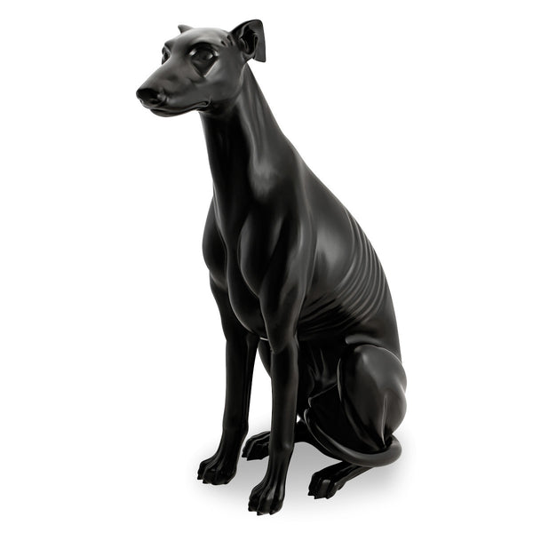 Black ceramic big italian greyhound figurine