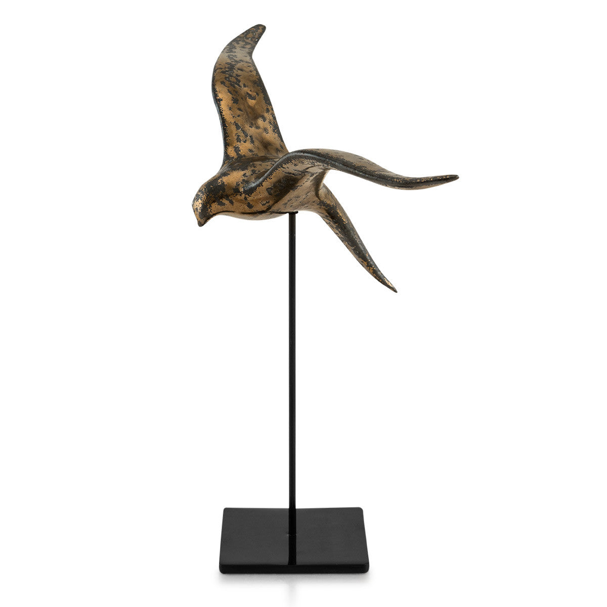 Ceramic spring swallow on stand burnished bronze