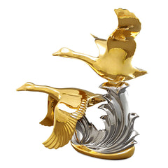 flying ducks ceramic porcelain in pure gold and platinum handmade in Italy
