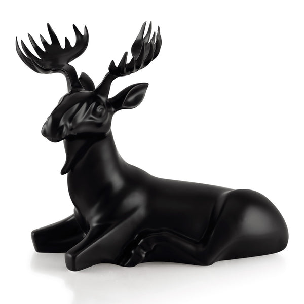 Black ceramic moose statue