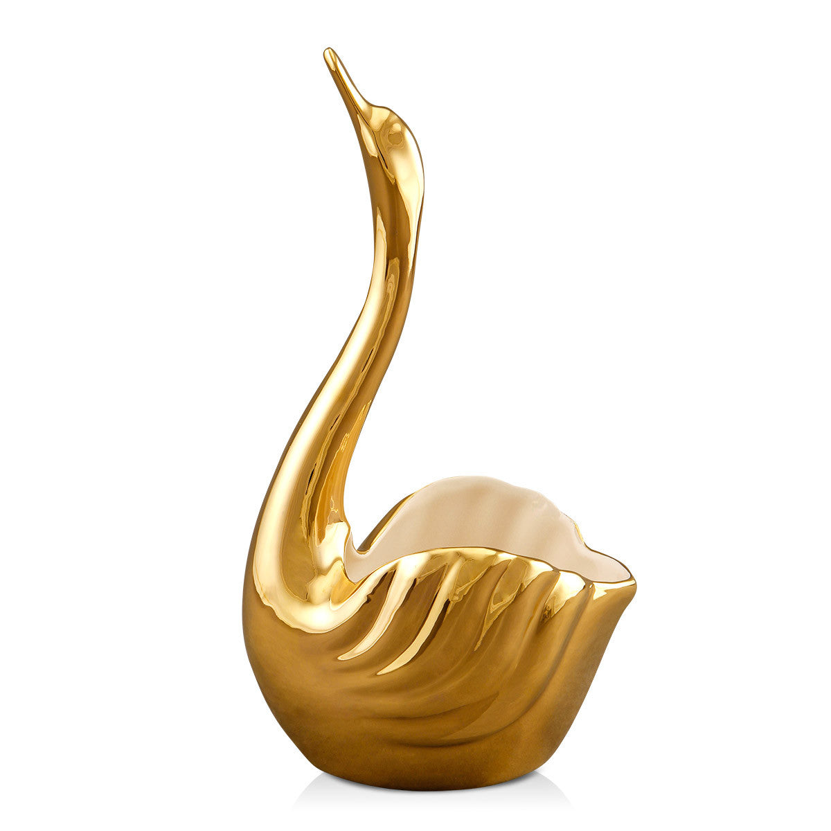 ceramic porcelain pure gold swan handmade in Italy