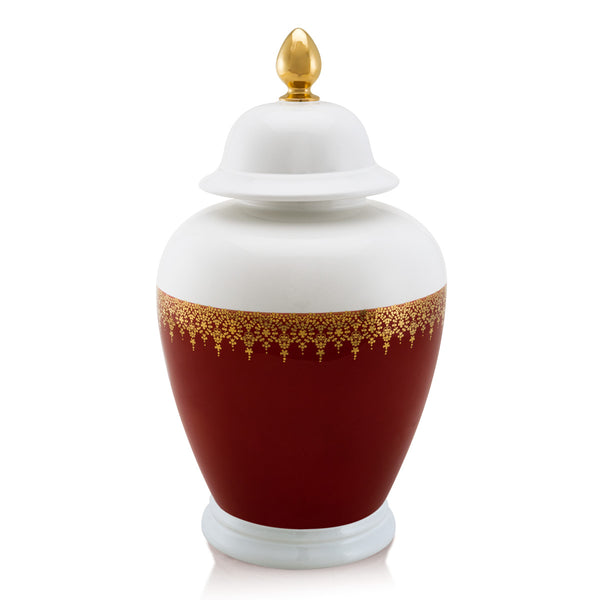 Ceramic vase with lid and gold decoration