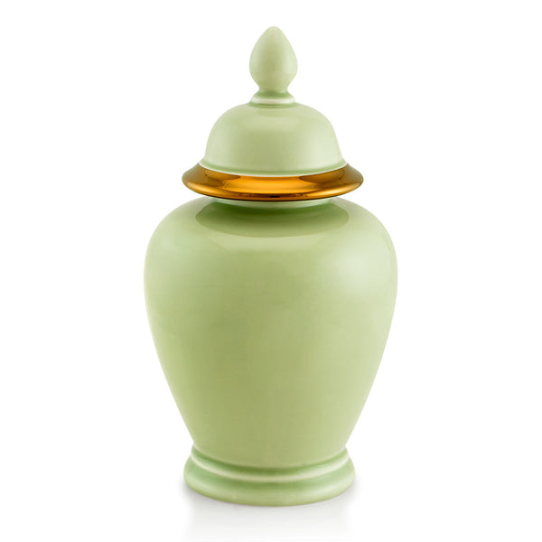 Ceramic celadon vase with lid