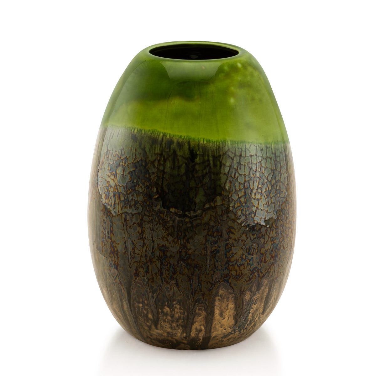 Ceramics-oval vase-green color-contemporary furniture