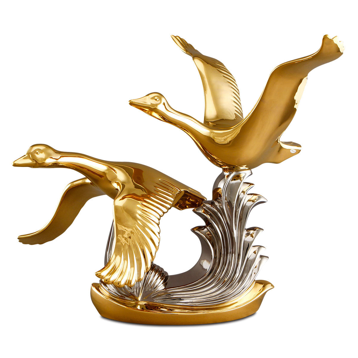 Ceramic flying geese statue in gold and platinum