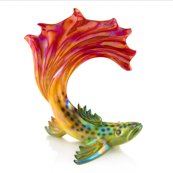 Ceramic tropical fish figurine with vibrant colors
