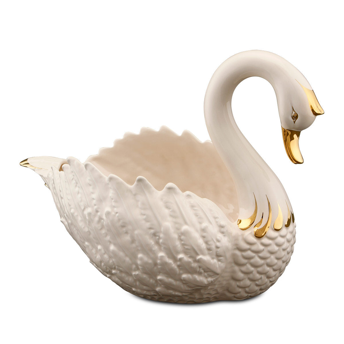 Ceramic swan planter with gold decor
