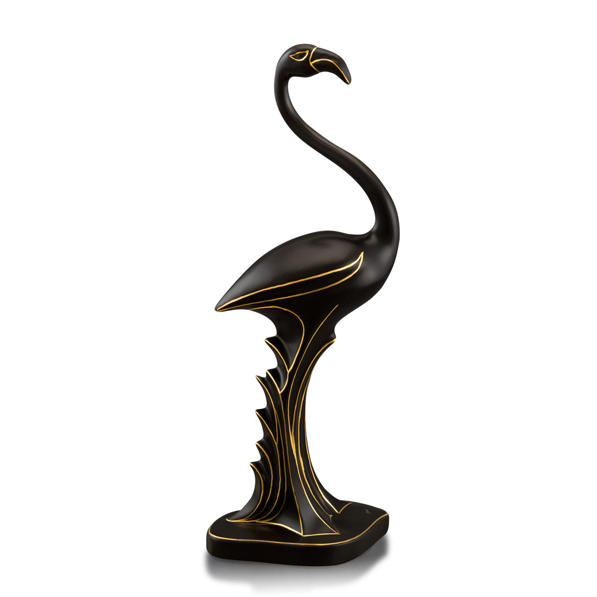 Ceramic flamingo figurine black and gold