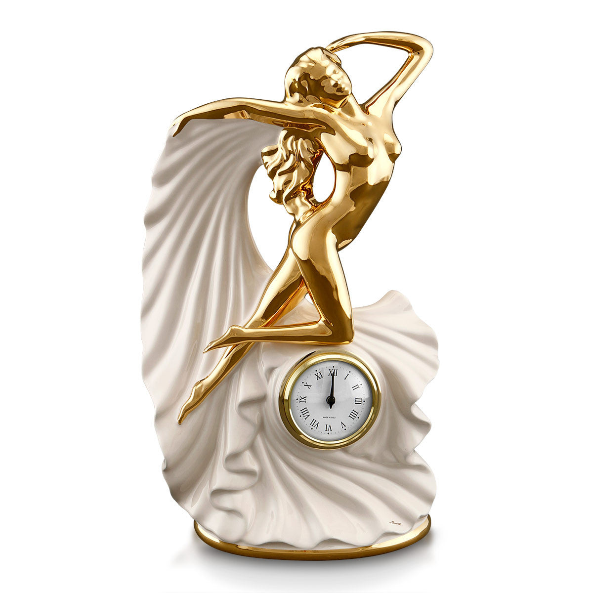 ceramic porcelain ivory clock woman finished in pure gold handmade in Italy