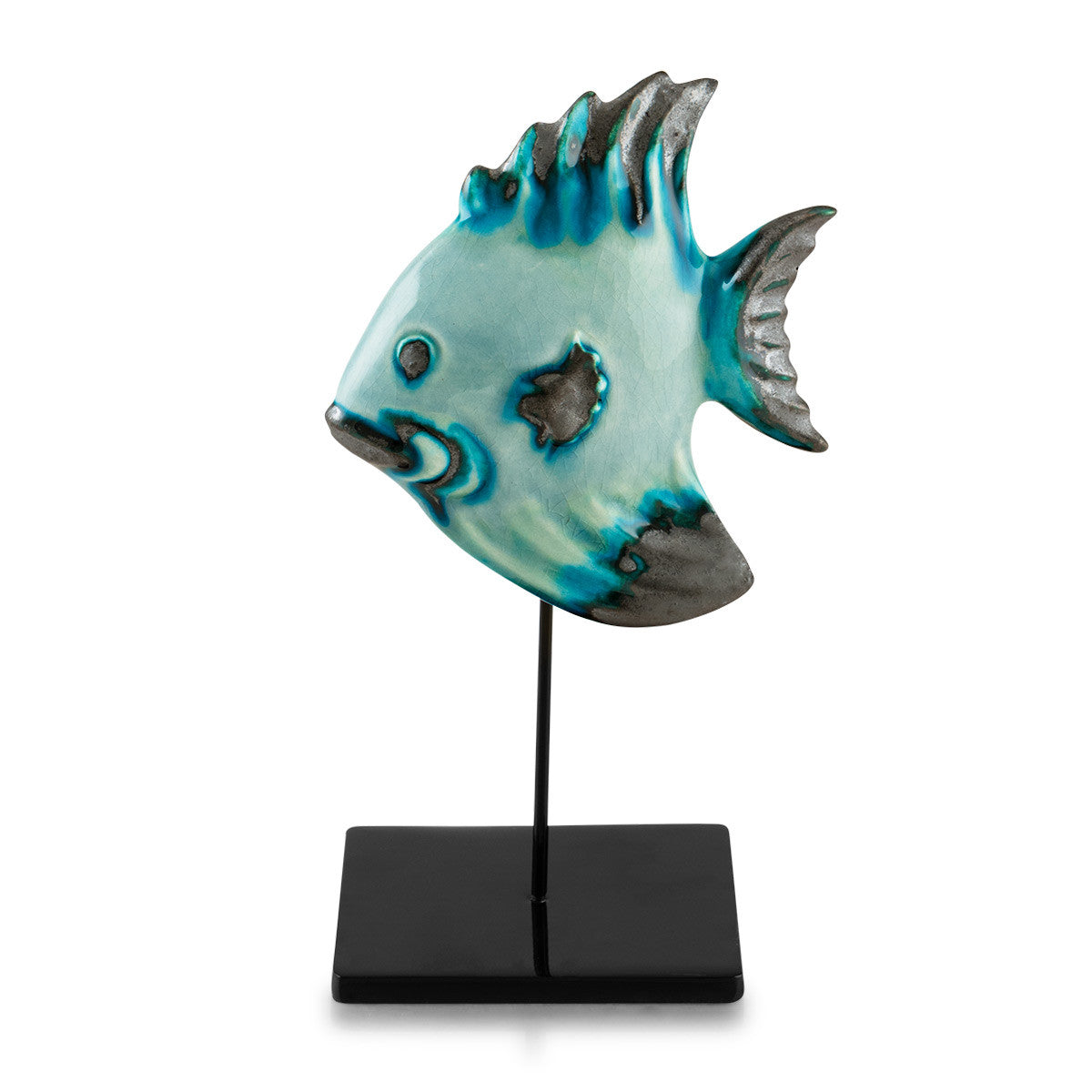ceramic tropical fish on stick reactive glaze, artistic accents, nautical decor