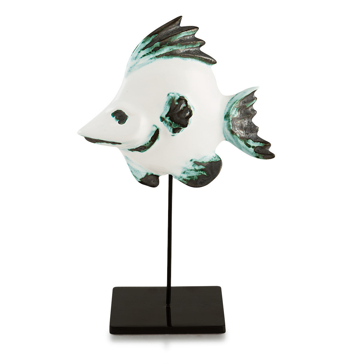 Ceramic tropical fish on stick modern design, nautical decor