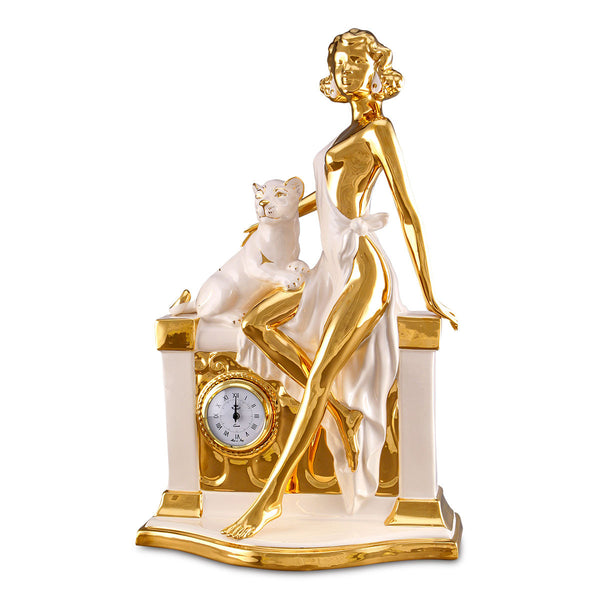 Ceramic lady figurine with clock