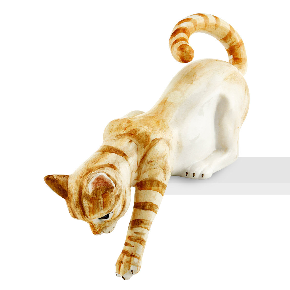 Ceramic cat playing with lifelike details