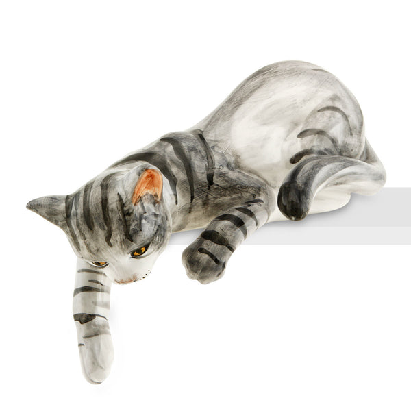 Ceramic cat playing lying down with lifelike details