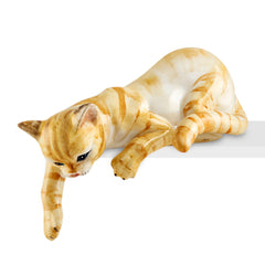 Ceramic cat playing laying down with lifelike details-gifts for cat lovers-Country decorCeramic cat playing lying down with lifelike details