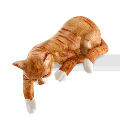 Ceramic cat playing lying down with lifelike details-gifts for cat lovers-Country decor