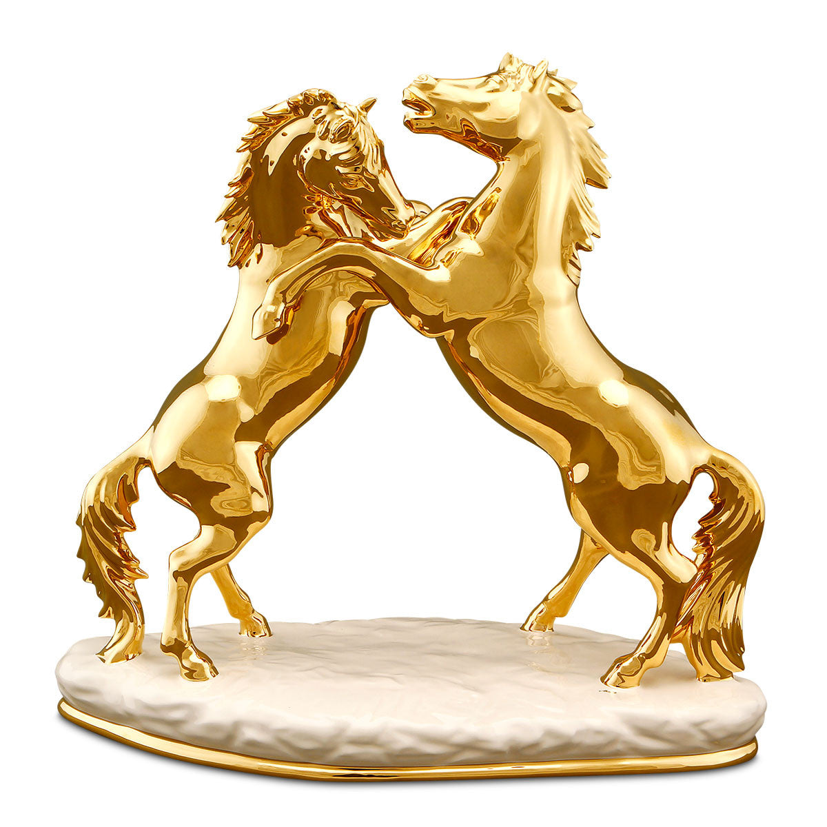 Ceramic horse fighting statue with gold finish