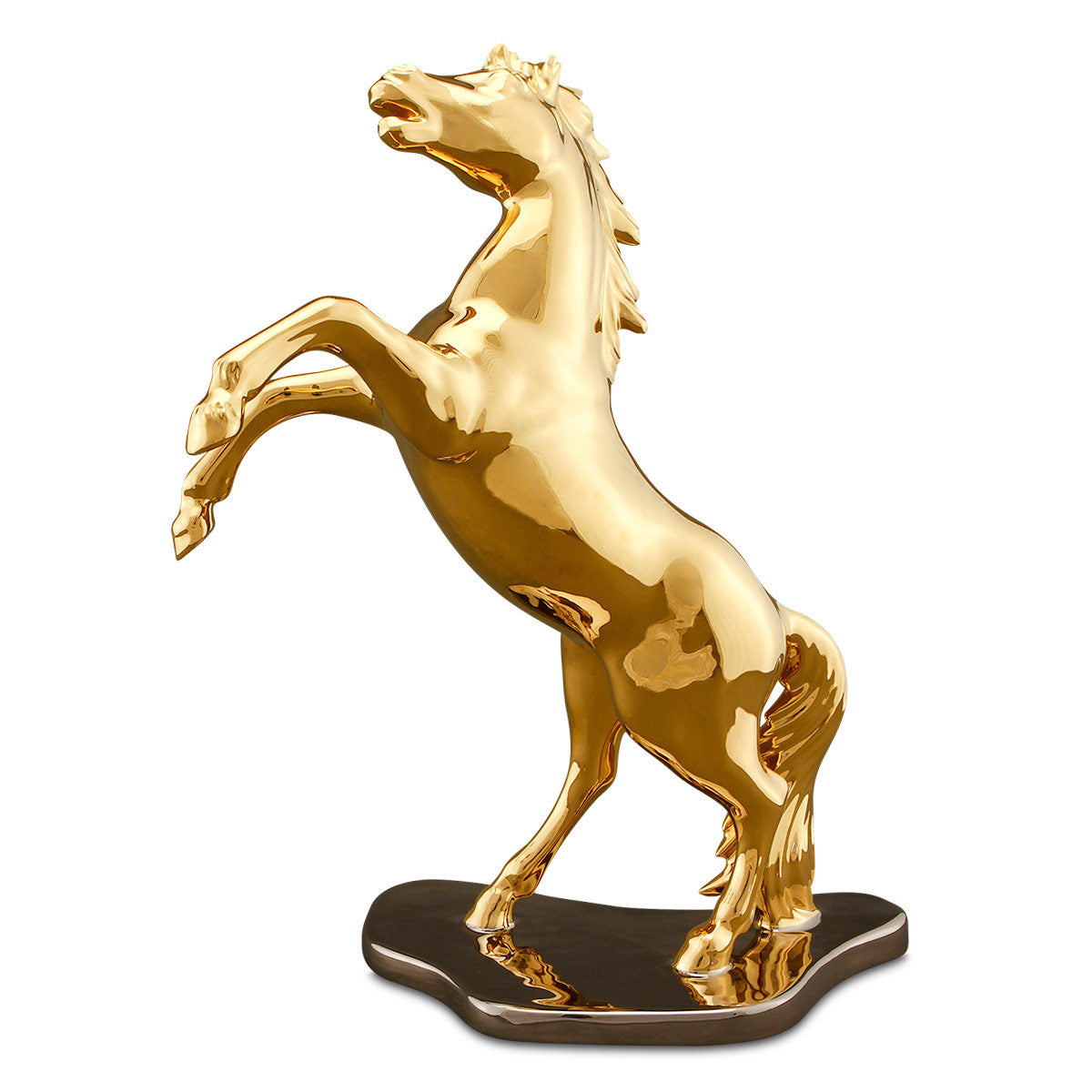 Hand Painted Italian Ceramic Rearing Horse statues-pure gold-animal gifts-accent decor