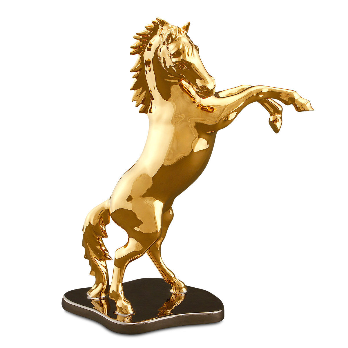 Ceramic horse statue on base in gold and platinum
