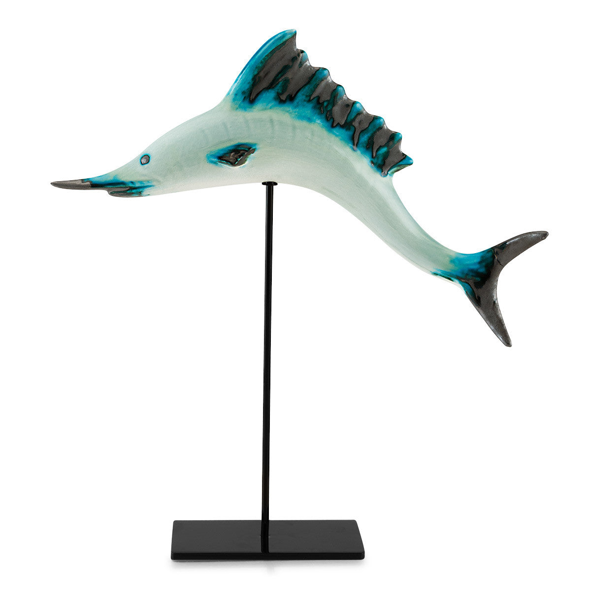 ceramic blue marlin tropical fish on stick, reactive glaze, modern design, nautical decor