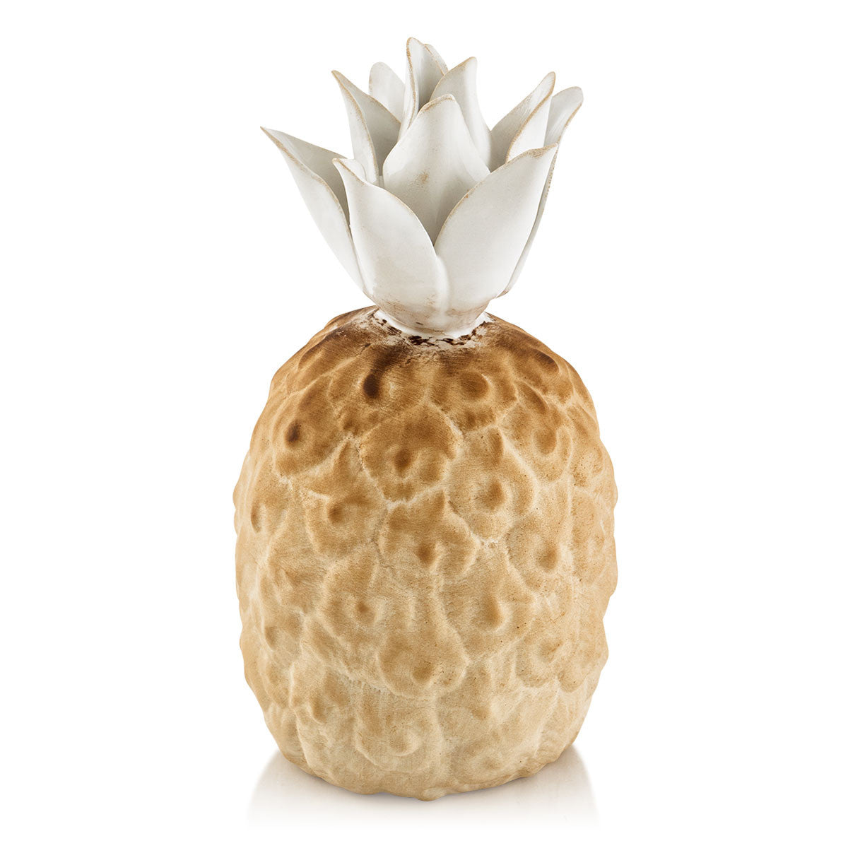 Hand-painted ceramic porcelain pineapple in white glaze and finished in brown natural