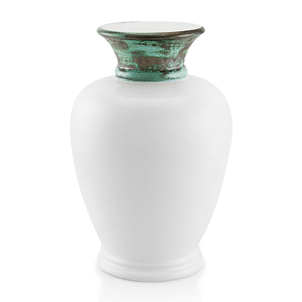 Ceramic amphora vase in white color