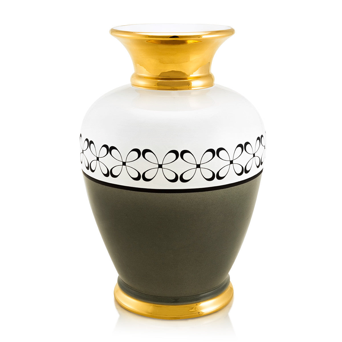 ceramic porcelain green vase finished in pure gold with modern decor handmade in Italy