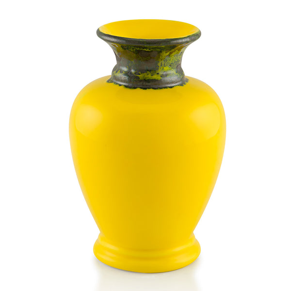 Ceramic amphora vase in yellow color