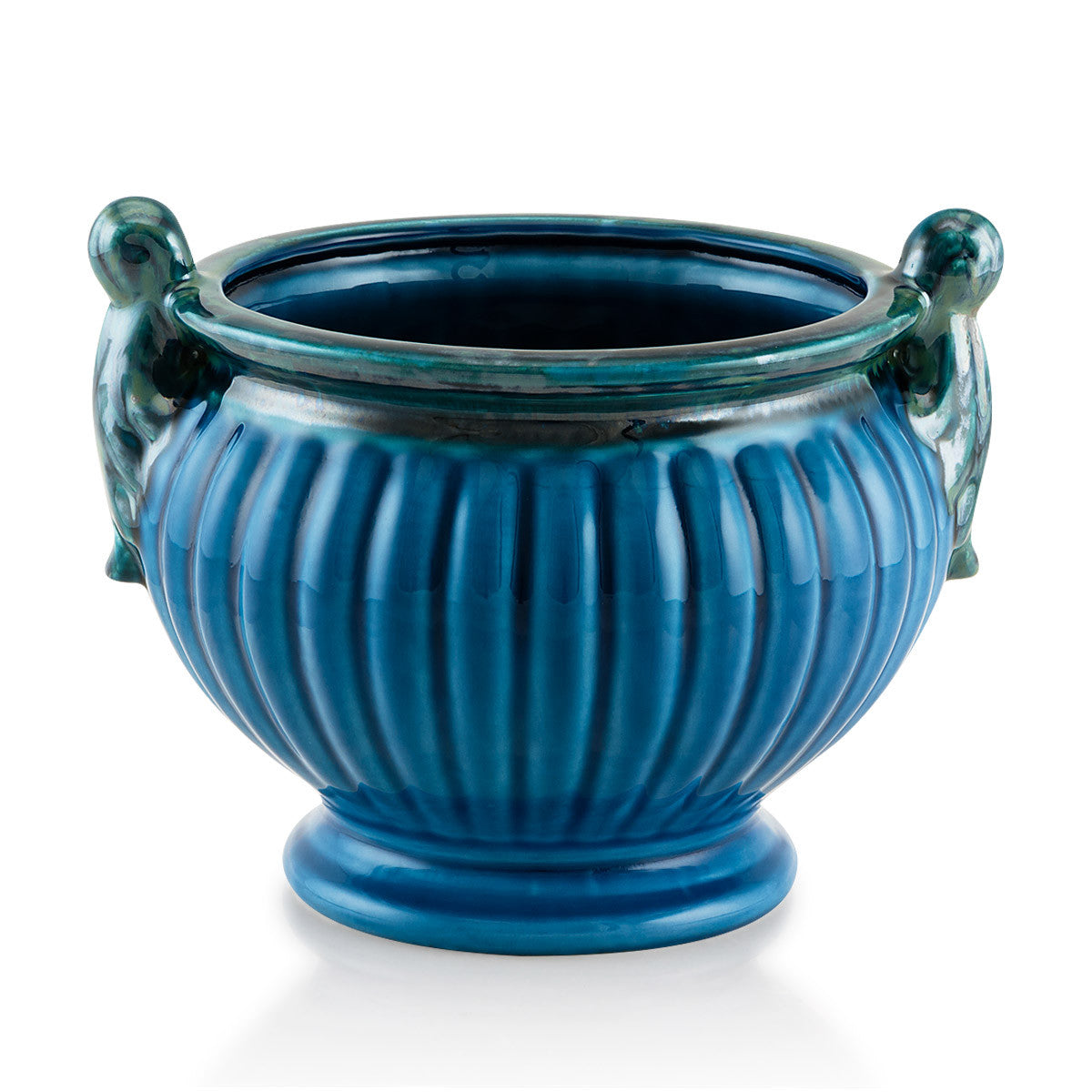 Ceramic ribbed cachepot with handles in blue color