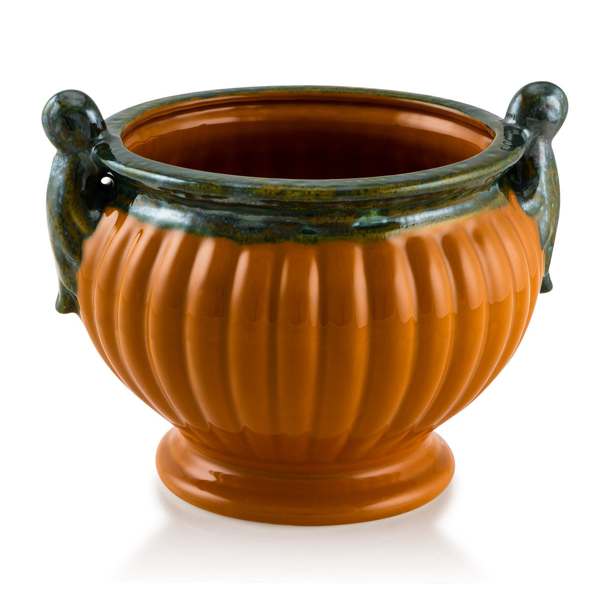 Ceramic ribbed cachepot with handles in orange color
