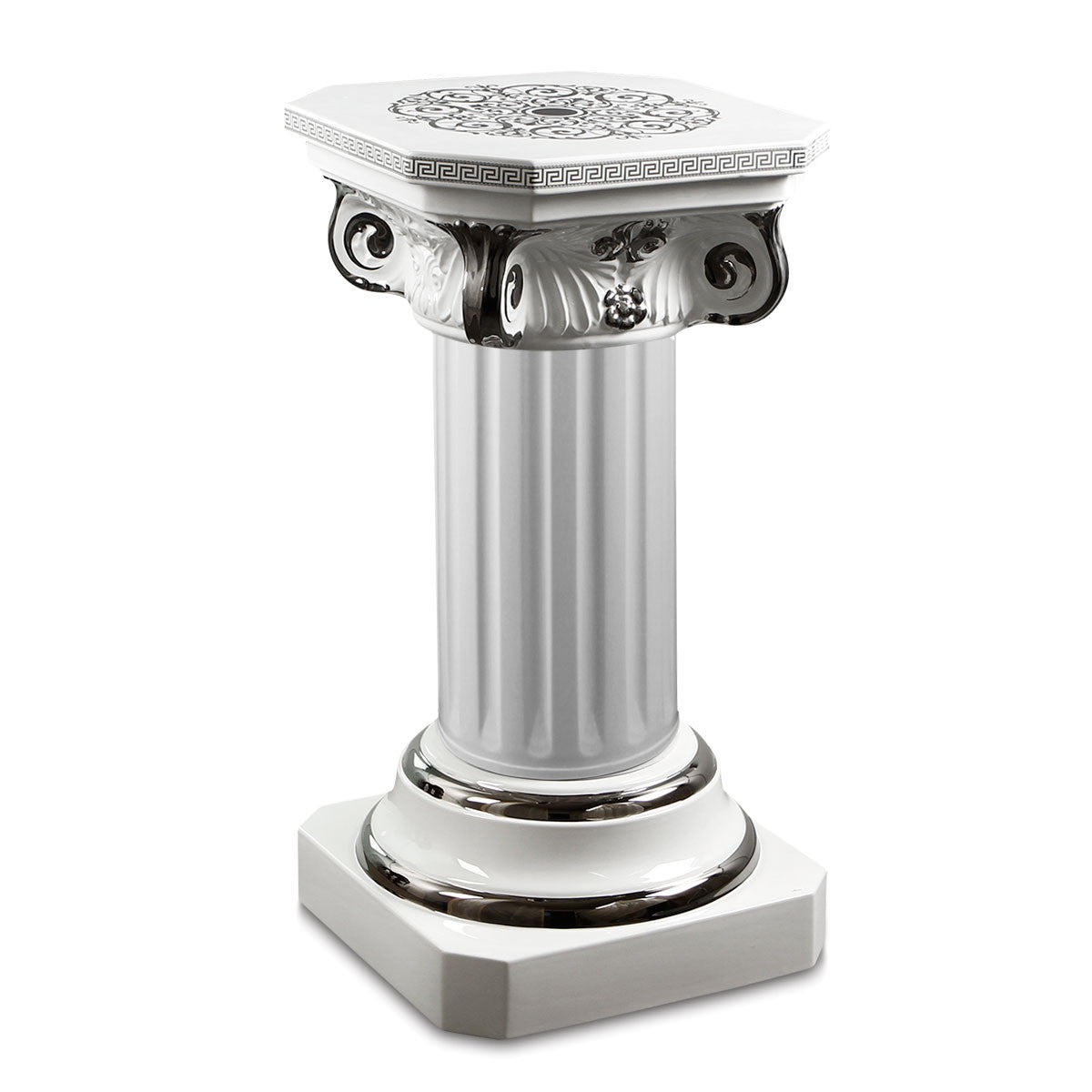 ceramic porcelain column with empire design finishing in pure platinum handmade in Italy