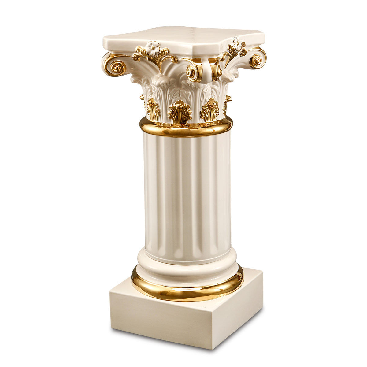 ceramic porcelain ivory corinthian column finishing in pure gold handmade in Italy
