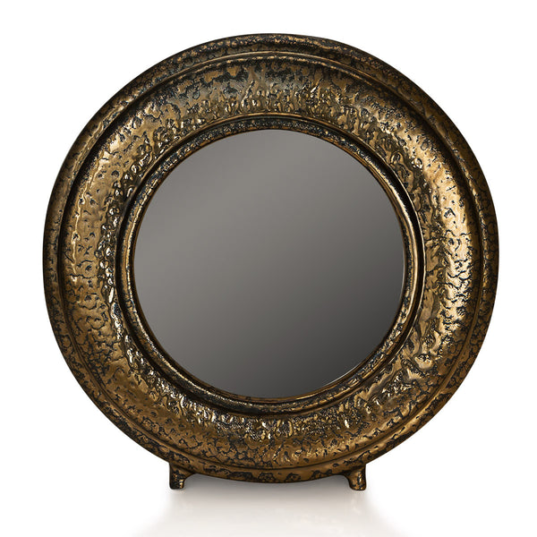Ceramic round picture frame in burnished bronze finish