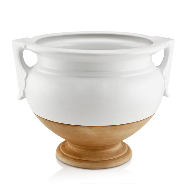 Ceramic cachepot with handles and brown detail