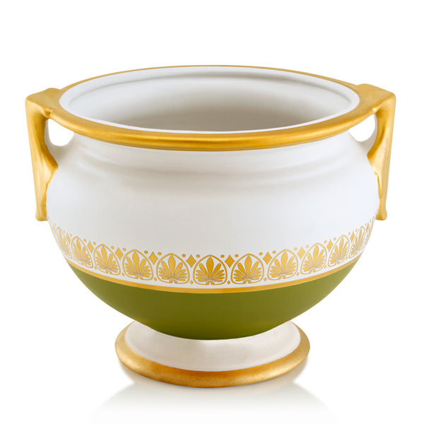 Ceramic cachepot in green color with gold greek