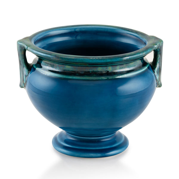 Ceramic cachepot with handles in blue color