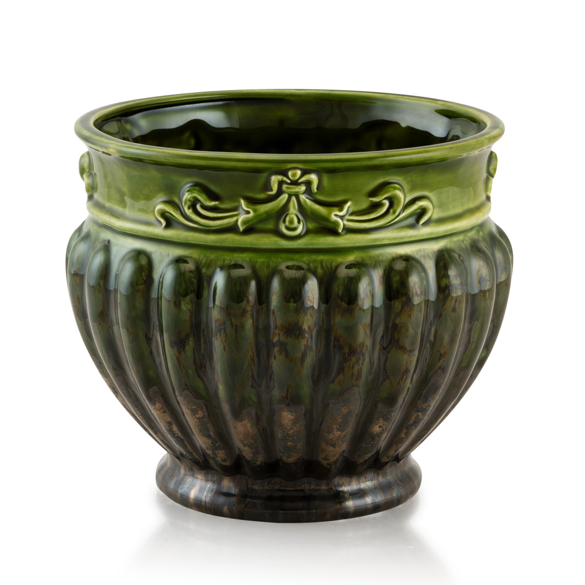 ceramic porcelain ribbed cachepot, finished in green color and bronze