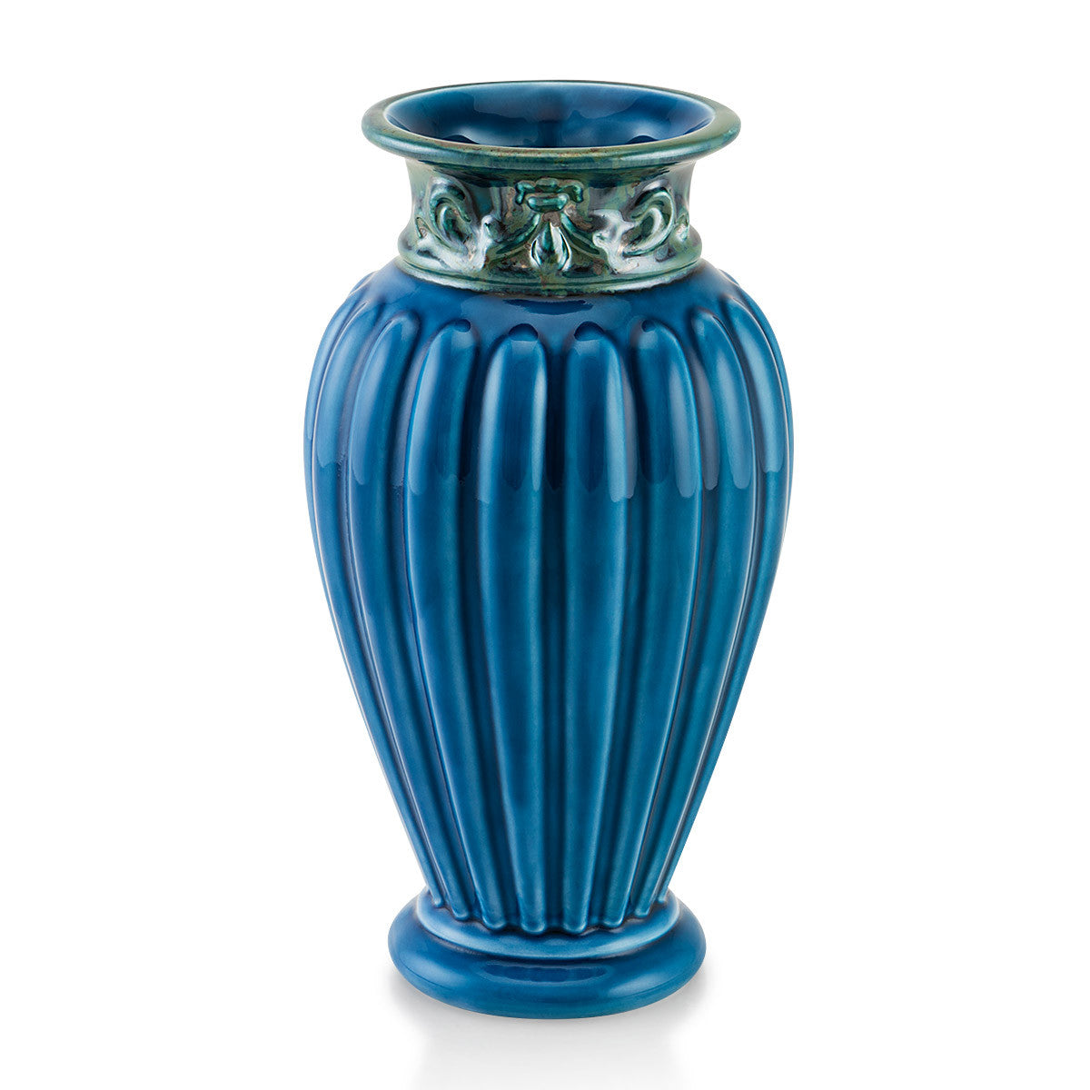 Ceramic coloured ribbed vase, blue color