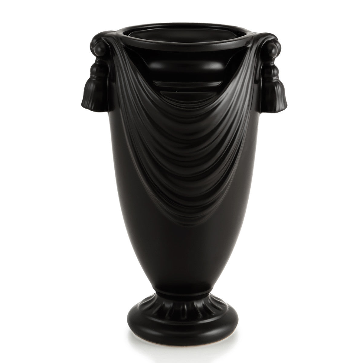 Black Ceramic vase with drape